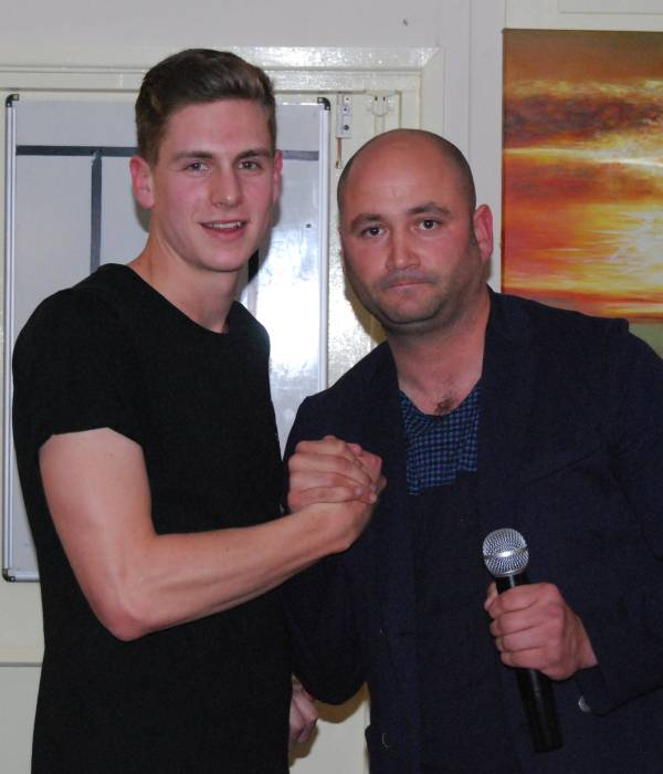 Young Player of the Season Tom Brown with Mark Wilson